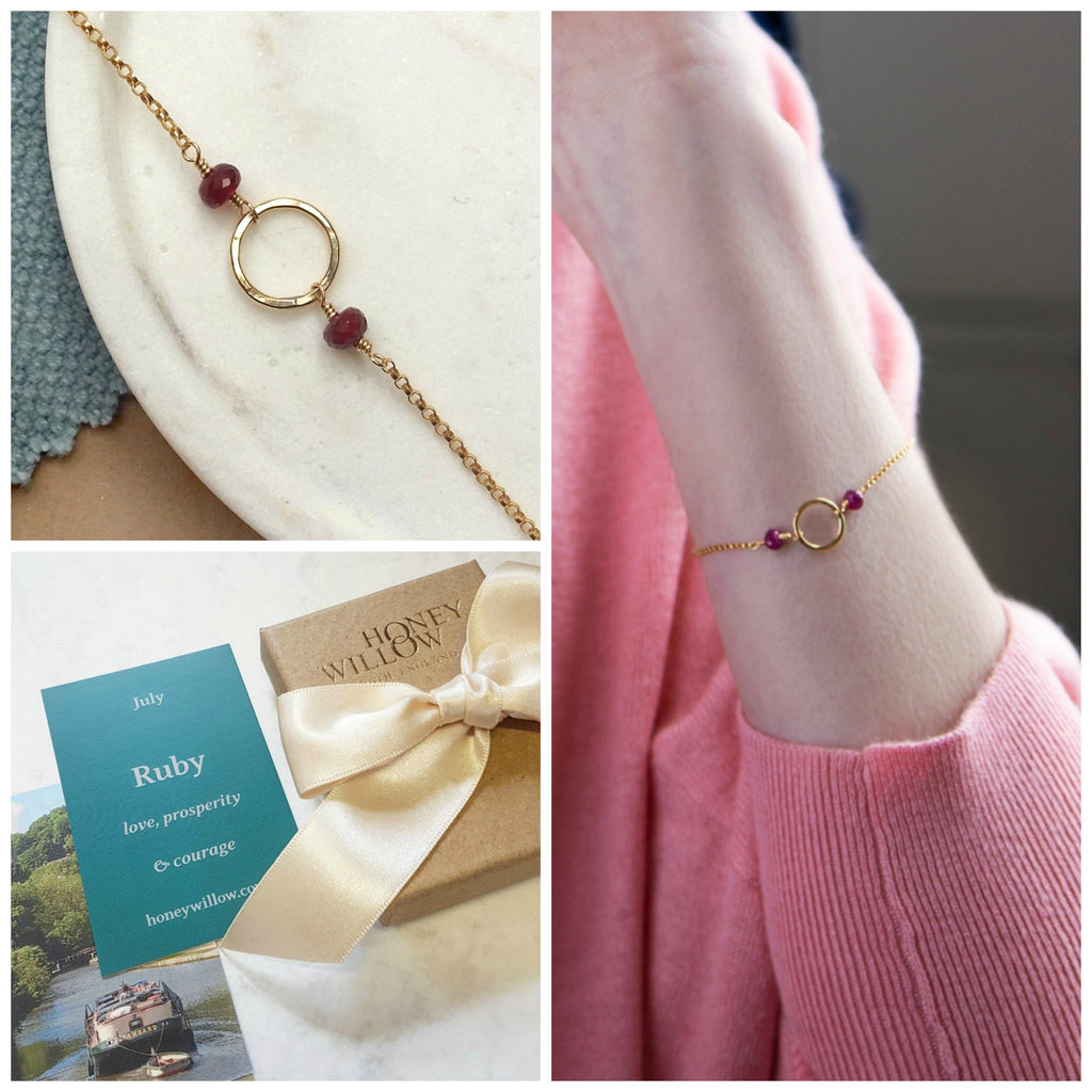 Dainty July birthstone bracelet, ruby bracelet, July birthday gift for daughter, goddaughter, sister - Luna