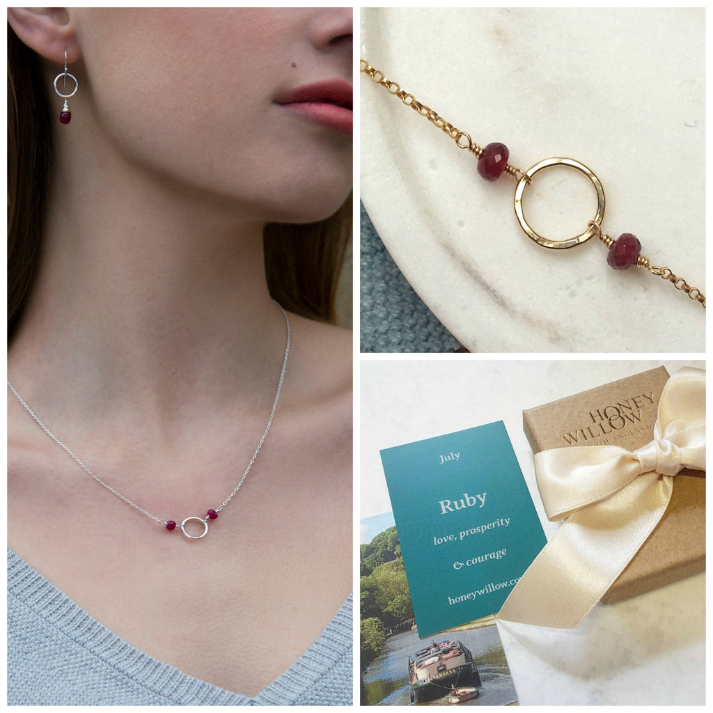 Dainty July birthstone necklace, ruby necklace, July birthday gift for daughter, goddaughter, sister - Luna