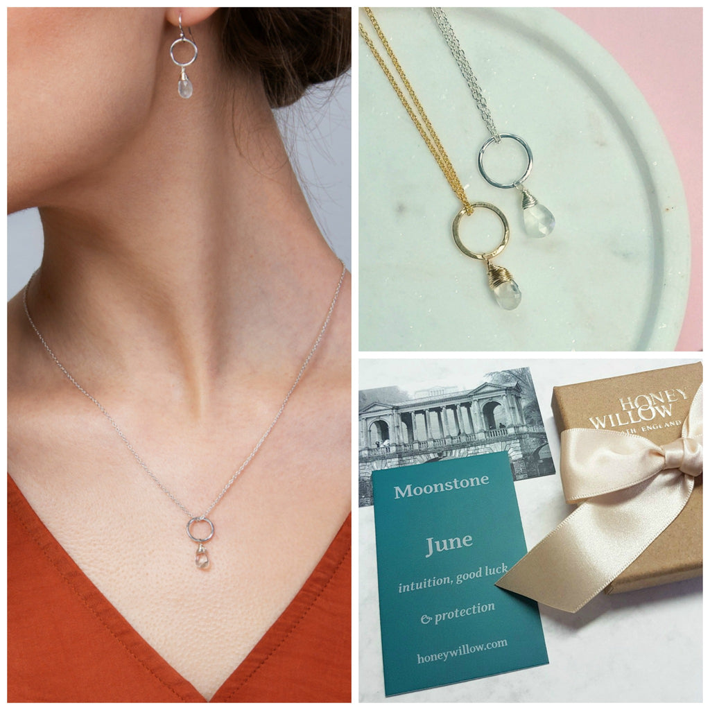 June birthstone necklace, dainty moonstone necklace, June birthday gift daughter, sister, wife - Clare