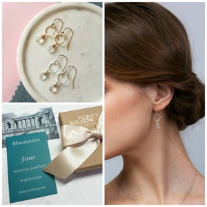 Dainty June birthstone earrings | Clare
