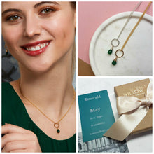Load image into Gallery viewer, May birthstone necklace, dainty emerald necklace, May birthday gift daughter, sister, wife - Clare