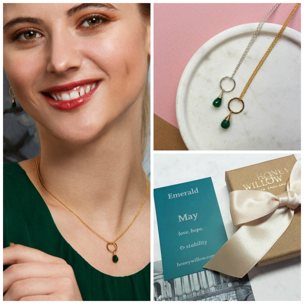 May birthstone necklace, dainty emerald necklace, May birthday gift daughter, sister, wife - Clare