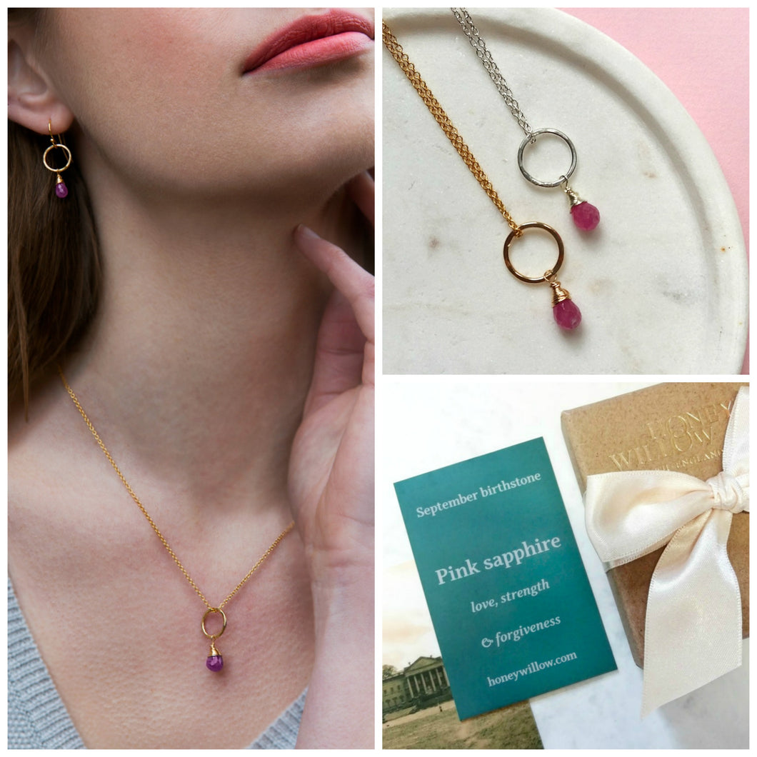 Dainty September birthstone necklace | Clare