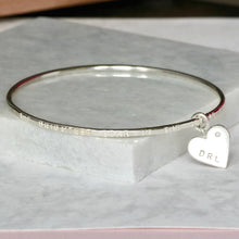 Load image into Gallery viewer, Personalised Remembrance Bracelet With Diamond Heart Charm