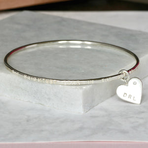 Personalised Remembrance Bracelet With Diamond Heart Charm