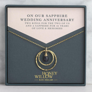 Sapphire Anniversary Necklace - 45th Anniversary Gift