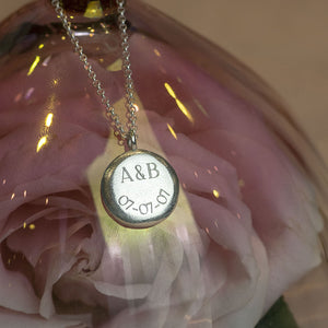 Personalised Engraved Initials & Date Pendant - Large