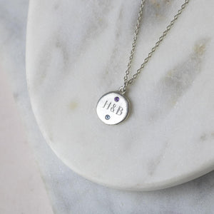 Personalised Engraved Silver Necklace with Birthstones