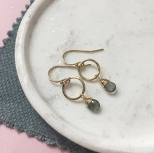 Load image into Gallery viewer, March Birthstone Circle Earrings