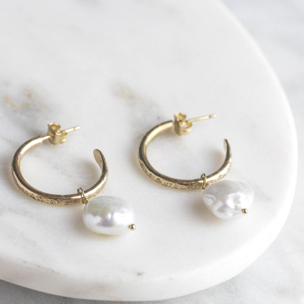 Petite Gold Hoops with Pearls