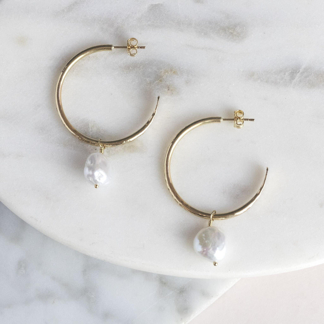 Small Gold Hoops with Pearls