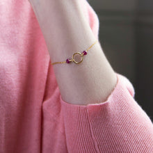 Load image into Gallery viewer, Dainty ruby bracelet | July birthstone
