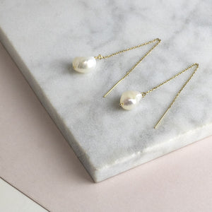 Threader Earrings with Freshwater Pearls