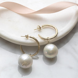 Petite Gold Hoops with Big Baroque Pearls