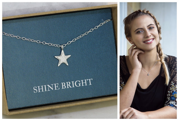 Star necklace silver, Christmas gift for daughter, shine bright, star jewelry for her - Astra