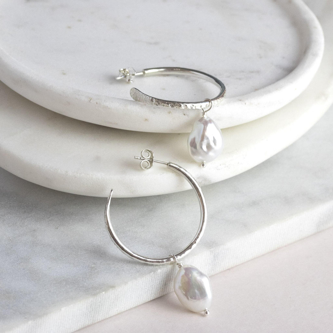 Small Silver Hoop Earrings with Pearls