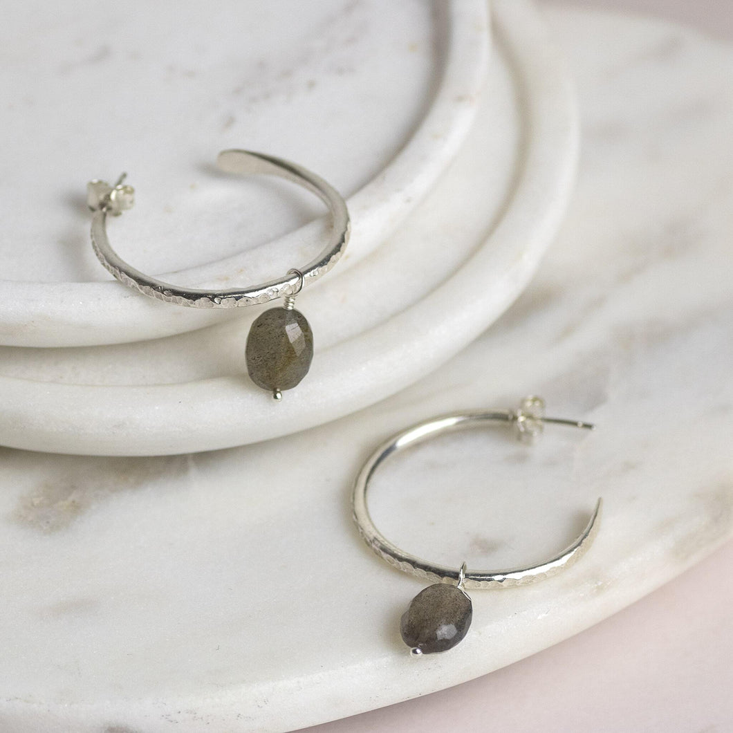 Small Silver Hoops with Labradorite