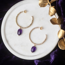 Load image into Gallery viewer, Small Gold Hoops with Amethysts