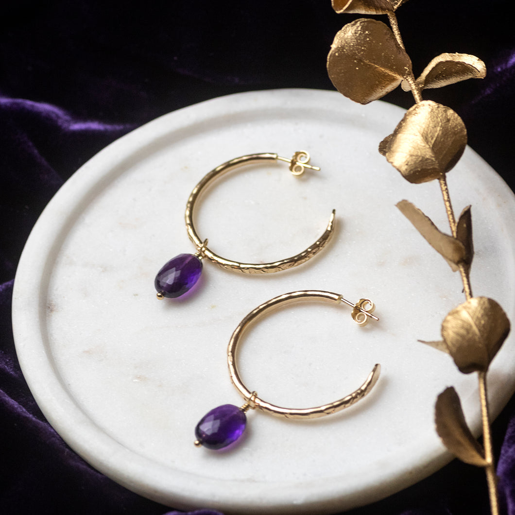 Small Gold Hoops with Amethysts