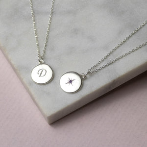 Engraved Birthstone Star Set Pendant - Petite