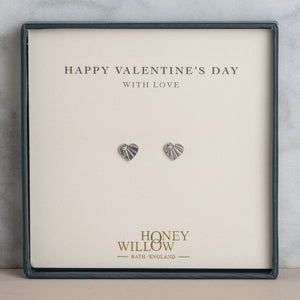 Valentine's Day Gift - Diamond Earrings - Sterling Silver Heart Studs