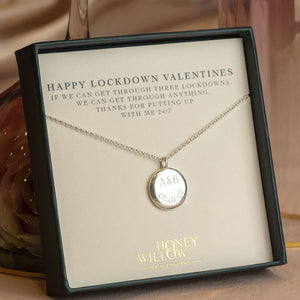 Valentines Gift for Her - Personalised Engraved Initials & Date Pendant - Large