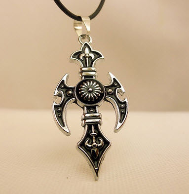 Black Men's Hourglass Cross Necklace