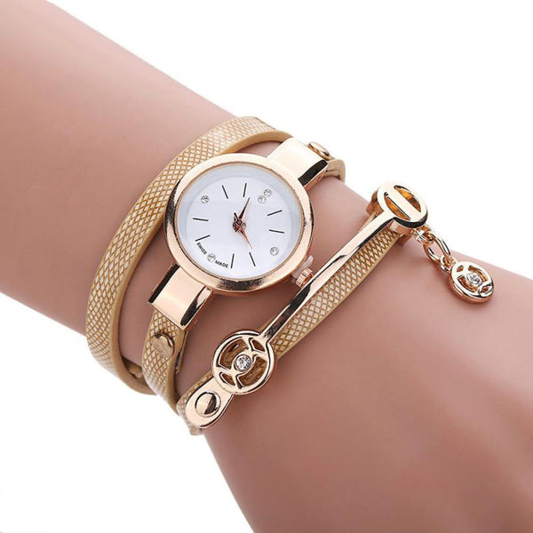 Women's Metal Strap Leather wristwatch