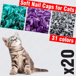 Soft Nail Caps for Cats - 20pcs + 1x Adhesive Glue + 1x Applicator