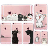 Cat Themed Transparent Soft Silicone Cover For Apple iPhone 5/6/7 Models