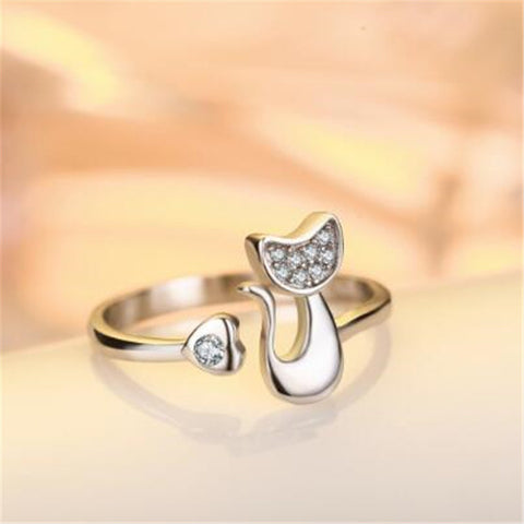 Zircon Filled Cute Cat Silver Ring