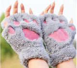 Cats Paw Plush Fingerless Gloves