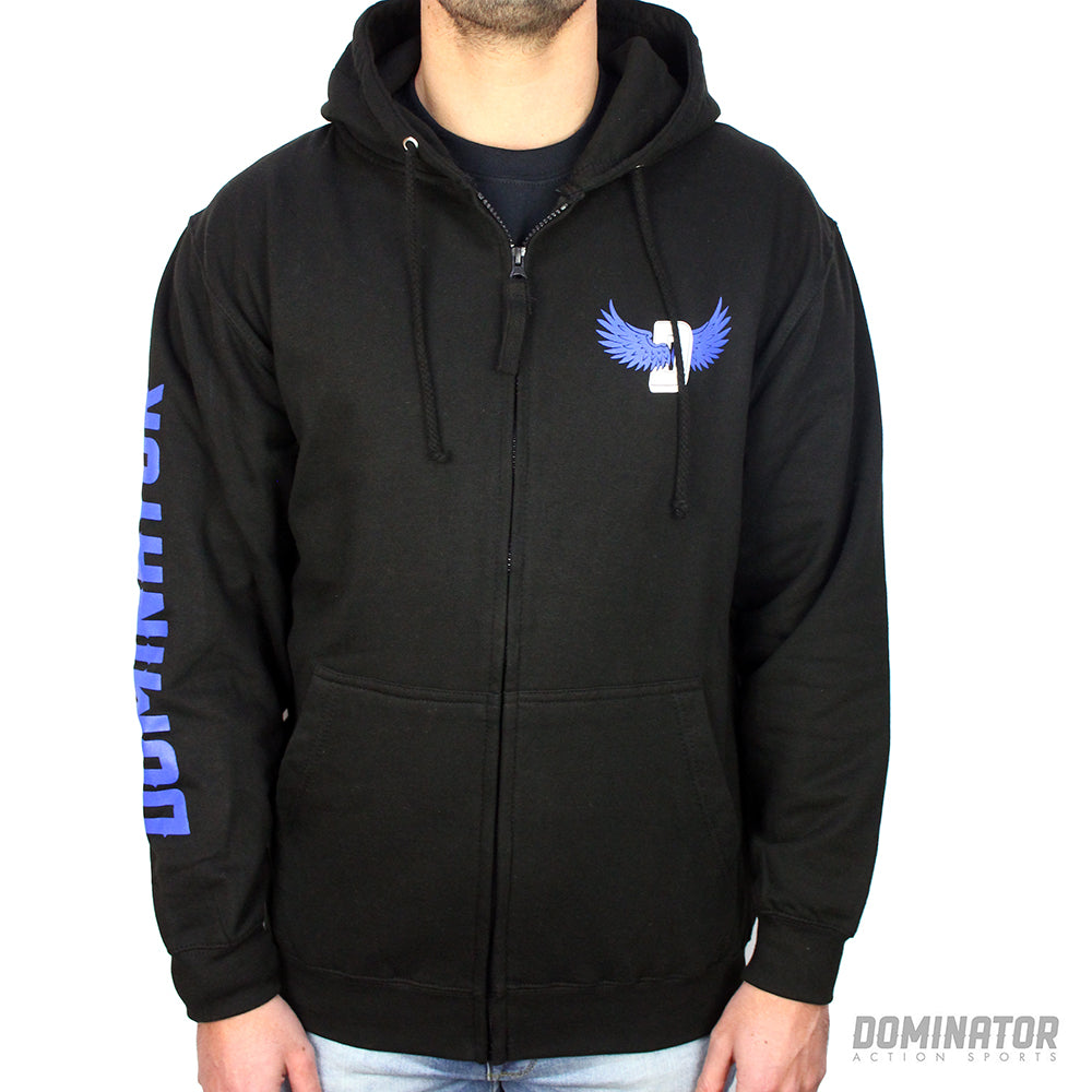 Dominator Logo Sleeve Zipped Hoody - Black / Blue