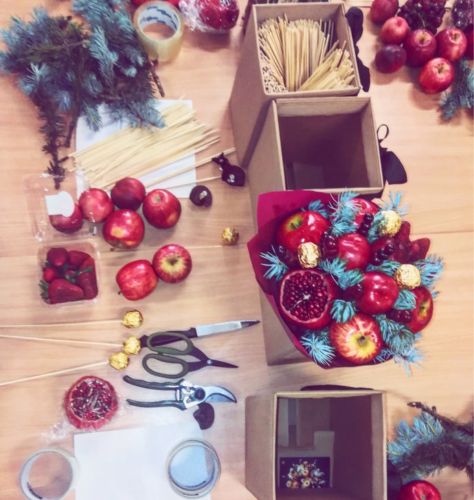 "First ever workshop for adults making ""Xmas Feast Bouquet"""