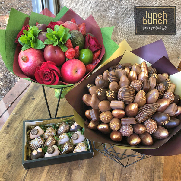 Edible Bouquets by Lunch Bunch Custom strawberries in chocolate sweet bunches