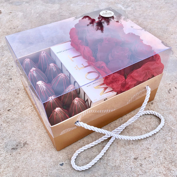 Gold Box Chocolate and Flowers Gift Packaging LunchBunch