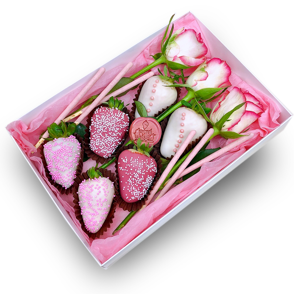 Chocolate Dipped 6 Strawberries Roses Box Lunch Bunch