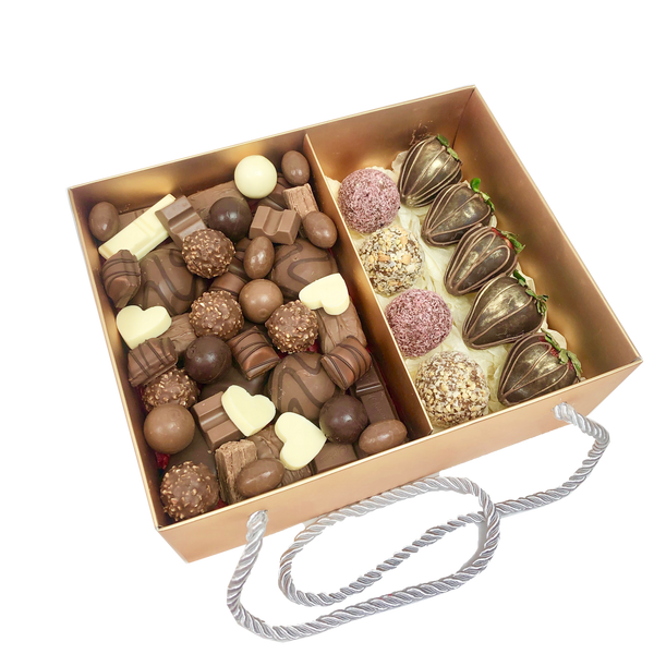 Chocolates Assortment, Protein Balls & Strawberries Gold Box