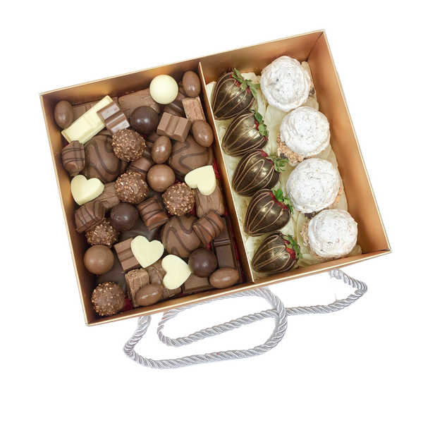 Chocolates Assortment, Strawberries & Meringues Gold Box
