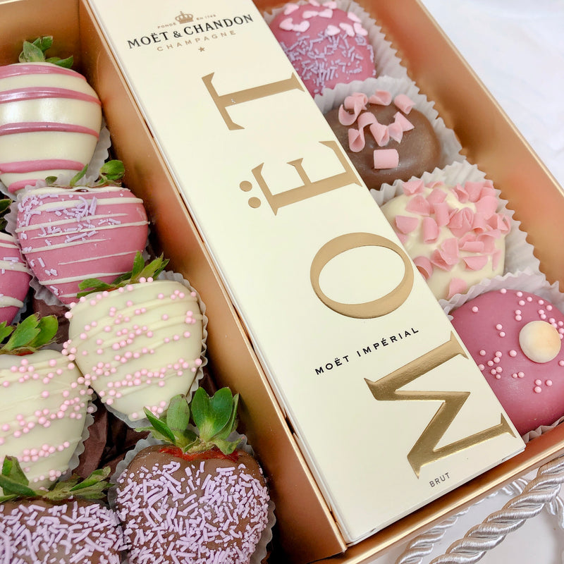Donuts, Moet & Chocolate Strawberries Gold Box