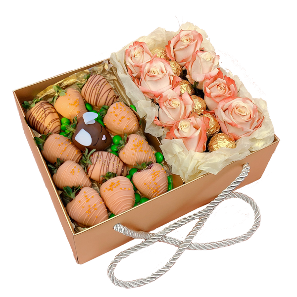 EASTER TREAT CHOCOLATE CARROTS DESSERT BOX & FLOWERS