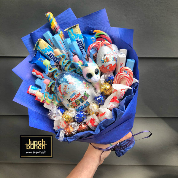 """Blue Magic"" Unicorn Kinder Chocolate Bouquet"
