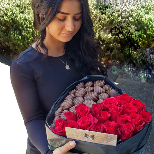 Love Heart Chocolate Roses, Adelaide roses delivery, Sweet Blooms Edible Bouquet, Dessert hamper box, romantic gift for her, gift for him