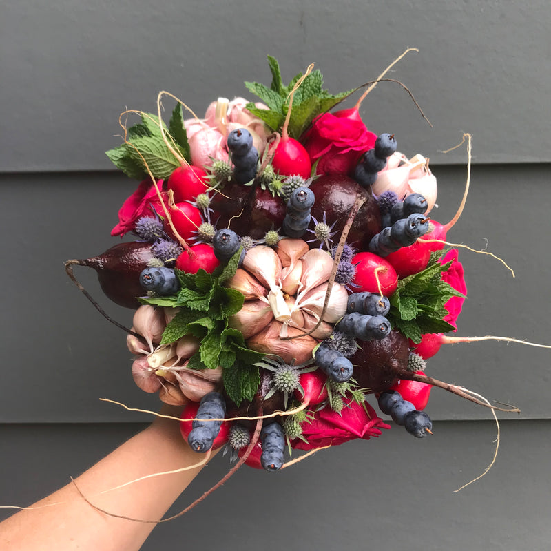"Bridal Bouquet berries, flowers and veggies ""Enigma"""