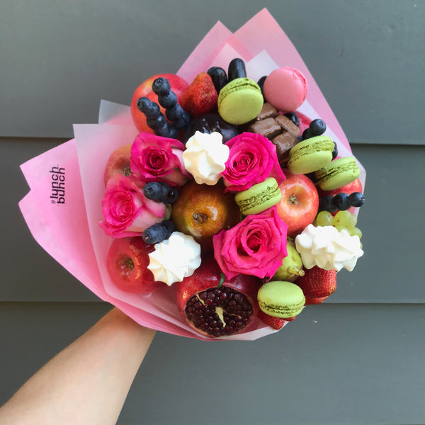 """Mother's Love"" Chocolate, fruits, berries, flowers and macarons bouquet"