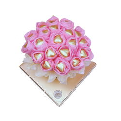Luxurious Chocolate Heart Blooms, Birthday Gift, Sweet Bouquet, Pink Chocolate gift