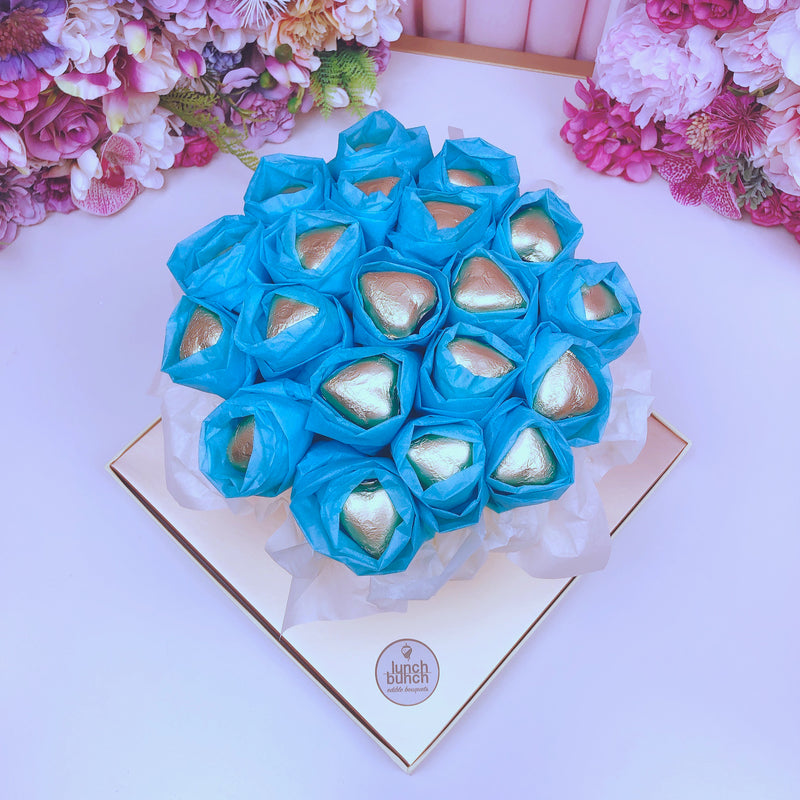Luxurious Chocolate Heart Blooms - Blue/Gold