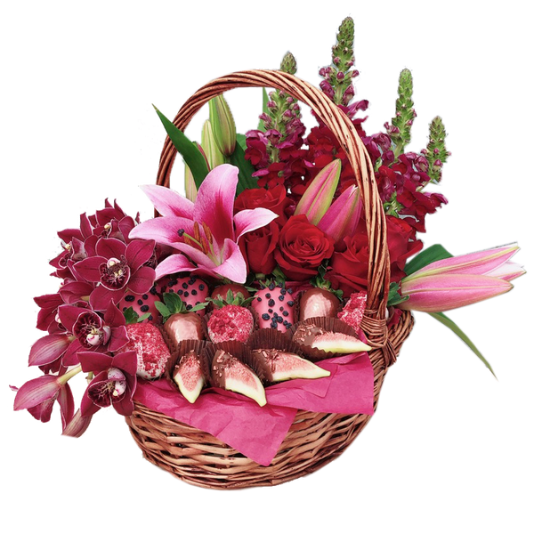 Luxury Flowers & Chocolate Strawberries Basket