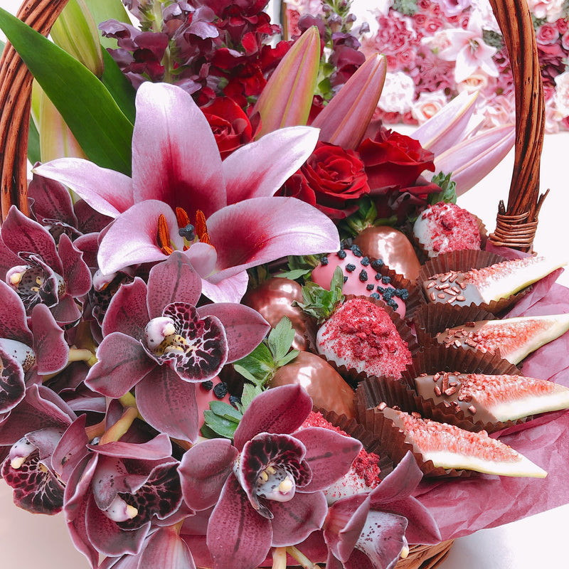 Luxury Flowers & Chocolate Strawberries Basket Adelaide delivery