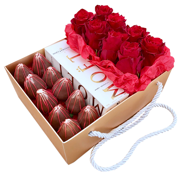 """Red Passion"" Chocolate Strawberries, Moet & Roses"